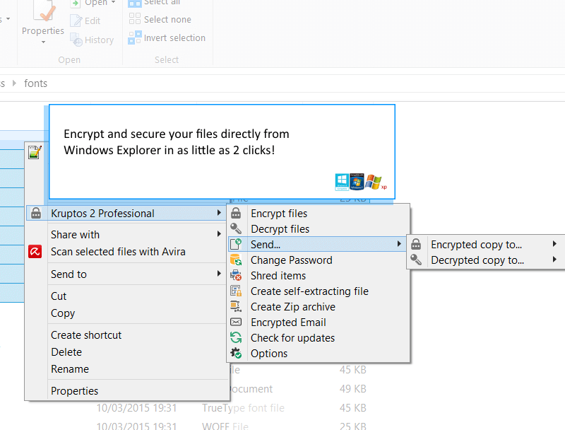 Windows explorer encryption